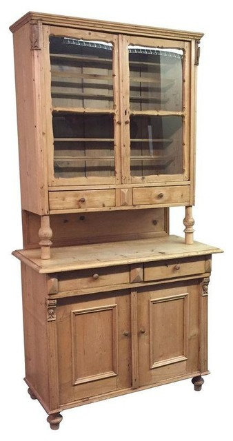 Antique European Pine China Cabinet - Traditional - China Cabinets And Hutches