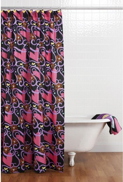 Sassy Shaylee Shower Curtain With Hooks 10 26049 Contemporary Shower Curtains By Hayneedle
