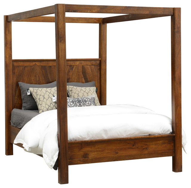 Rustic wood canopy bed queen size beds