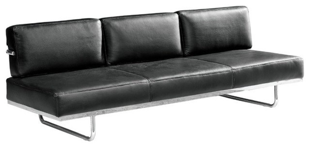 Fine Mod Imports Flat Lc Sofa Bed In Black Leather Contemporary Sofas