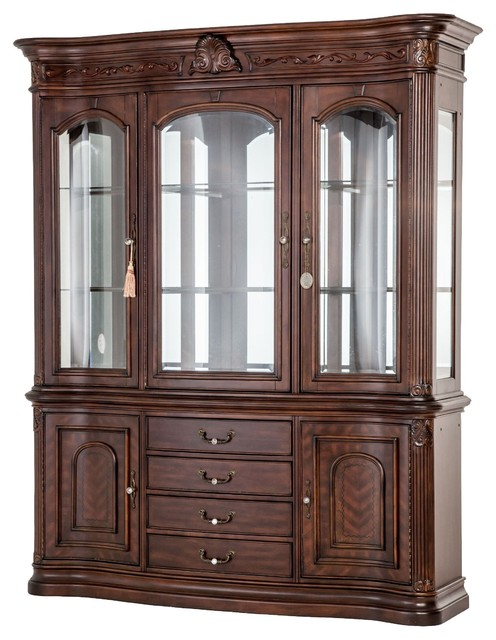 AICO Furniture Villagio China Cabinet In Hazelnut