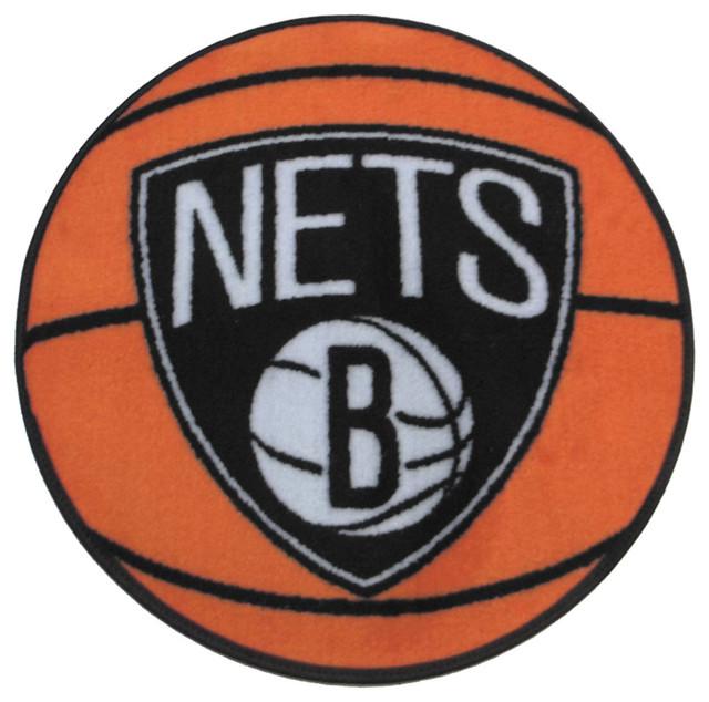 Large Basketball Area Rug: NBA Brooklyn Nets Rug Basketball Shaped Mat