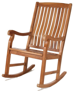 All Things Cedar TR22 Teak Rocking Chair Modern Outdoor Rocking Chairs