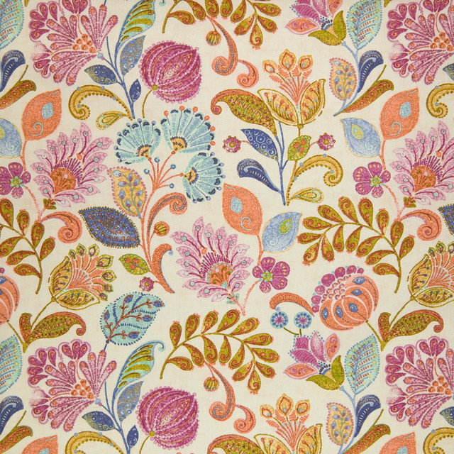bittersweet pink orange teal blue floral upholstery fabric by the yard tropical upholstery fabric
