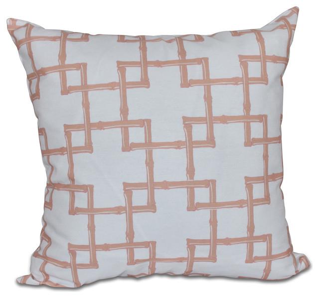 Bamboo 2, Geometric Print Pillow, Coral, 20
