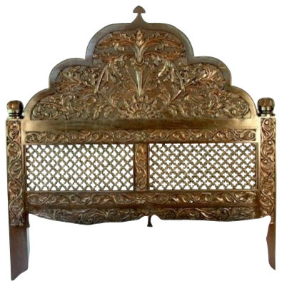 spanish dark walnut carved arch headboard queen headboards by clear path imports. Black Bedroom Furniture Sets. Home Design Ideas