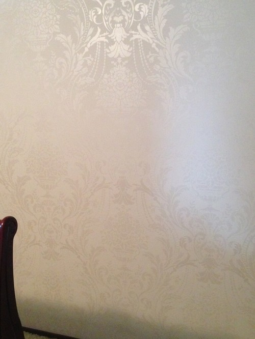 Damask stencil shimmers in modern masters snow white for Professional home design 7 0