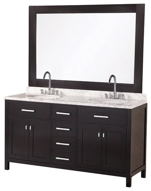 London 61 Double Sink Vanity Set Espresso Contemporain