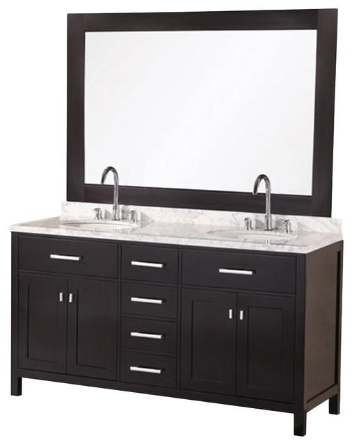 London 61 Double Sink Vanity Set Espresso Contemporary Bathroom Va