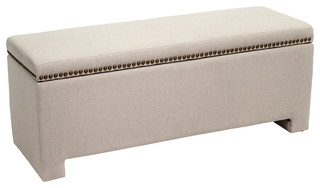 Hudson Fabric Storage Ottoman Bench, Ivory