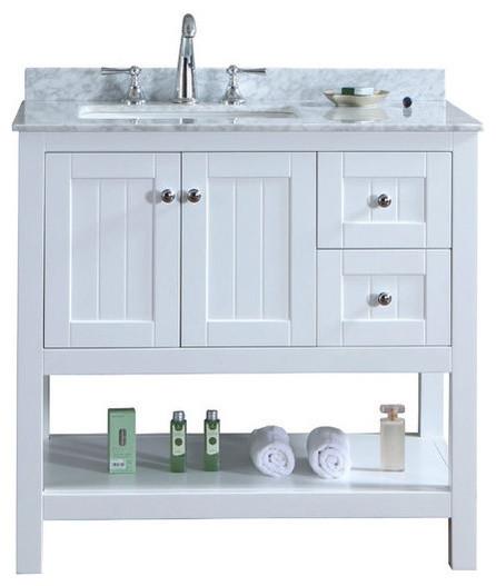 Emily Bathroom Vanity With Carrara Marble White