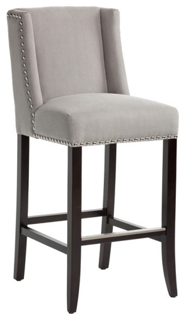 Ellie Wingback Bar Stool With Silver Nailhead Bar Height