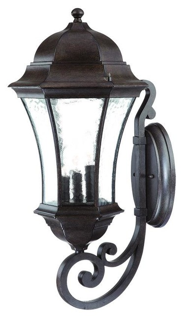 Exterior Wall Sconces Traditional : Black Coral Waverly 3 Light 26.75 Height Outdoor Wall Sconce - Traditional - Outdoor Wall Lights ...