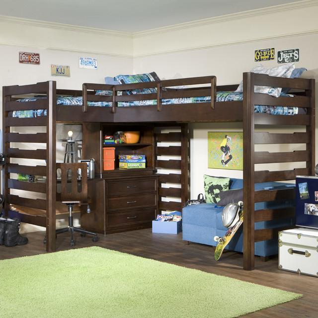 Studio Dual Corner Loft Bed Modern Kids Beds By