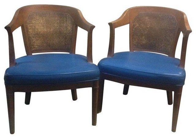 Henredon Mid Century Caned Back Chairs Pair Modern Living Room Chairs