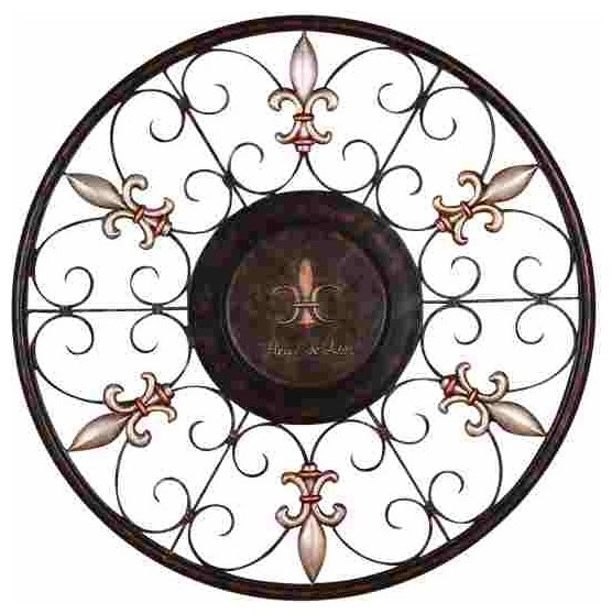 Round Wire Wall Decor : Regal scrollwork round metal wall hanging traditional