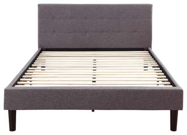Linen Upholstered Platform Bed With Slats Gray Twin