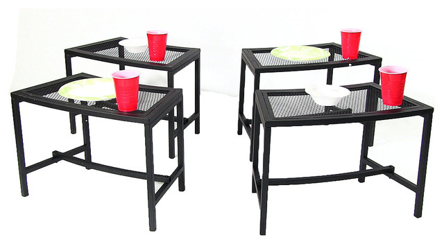 sunnydaze black mesh patio side table 23 x 16 inch 4 tables modern outdoor lounge chairs. Black Bedroom Furniture Sets. Home Design Ideas