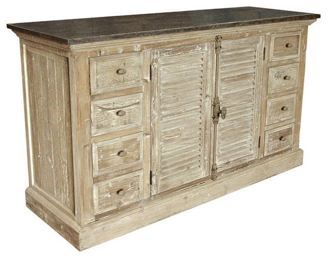 French Provincial Louvered Doors White Wash Sideboard - Traditional - Storage Cabinets - by ...