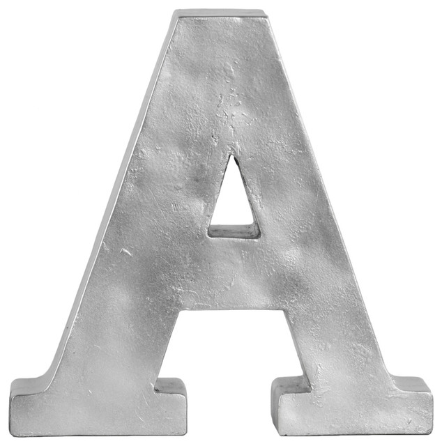 Silver Letters Wall Decor : Fiberstone alphabet tabletop decor letter quot a silver