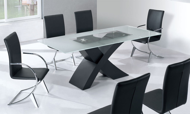 Contemporary graceful rectangular clear glass top leather - Table ancienne et chaises modernes ...