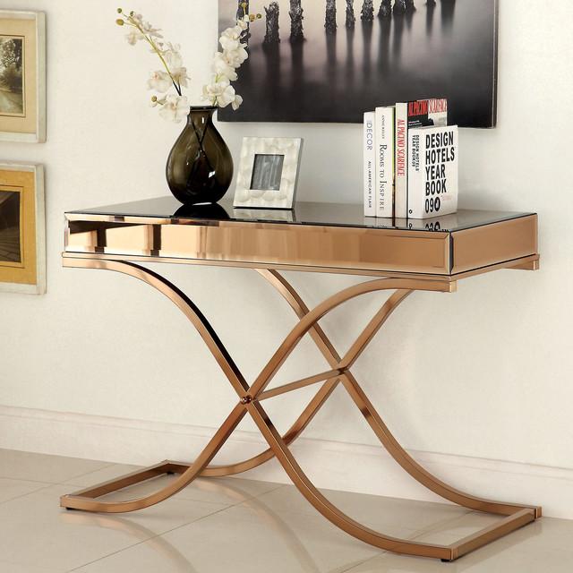 Furniture of america orelia luxury copper metal sofa table for Furniture of america sofa table