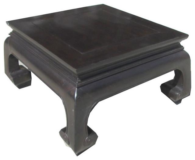 Chinese Square Dark Brown Ru-Yi Legs Coffee Table - Eclectic - Coffee ...