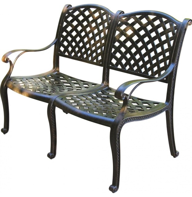 Cast aluminum nassau cast aluminum garden bench for Furniture 63366