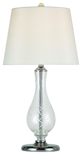 One light polished chrome etched crystal crossed pattern for Sardinia floor lamp chrome