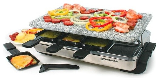 swissmar 8 person stelvio raclette party grill with granite stone traditional fondue and. Black Bedroom Furniture Sets. Home Design Ideas