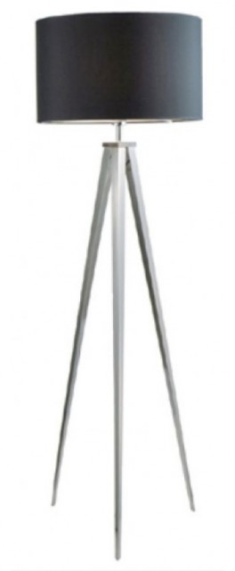 Tripod aluminum floor lamp in silver metal modern for Tripod floor lamp silver base white shade