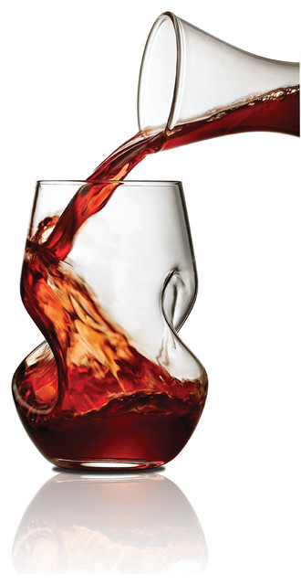 brilliant tourbillon aerating twisted stemless wine glasses  8 oz  set of 2 - modern