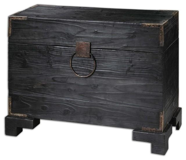 Elegant Solid Wood Black Trunk Table Traditional Side