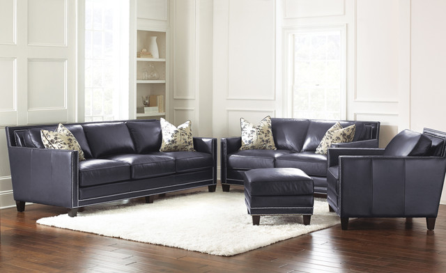 Steve Silver Hendrix 4 Piece Living Room Set In Navy Blue