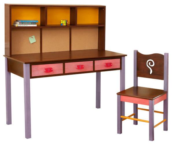 Girl Teaset Desk and Chair Set Chocolate Modern Kids