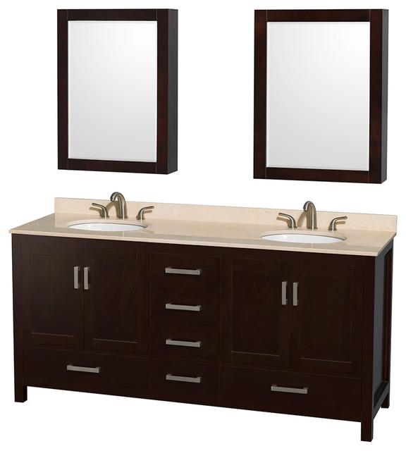 72 Double Bathroom Vanity Countertop Medicine Cabinet