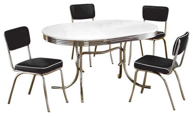 Retro Chrome Plated 5 Piece Dining Set By Coaster Dining Sets By U Buy Fu
