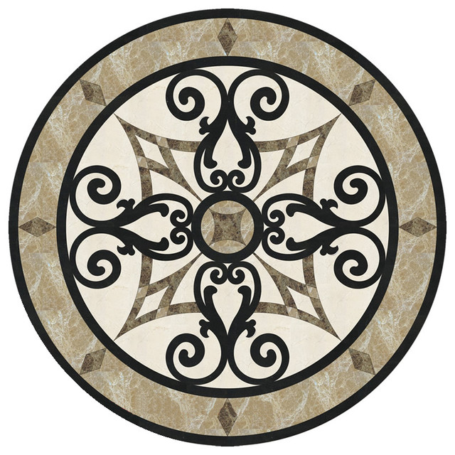 Waterjet Marble Floor Medallion Tile Inlay 24 Inches