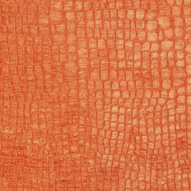 Bright Orange Alligator Print Shiny Woven Velvet