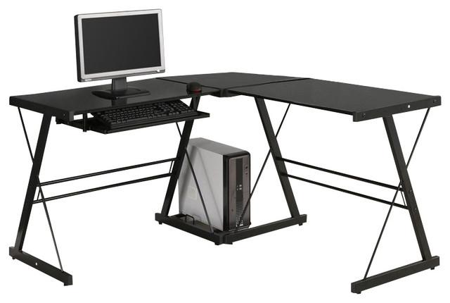 walker edison soreno corner l shape glass top computer desk in black modern desks and. Black Bedroom Furniture Sets. Home Design Ideas