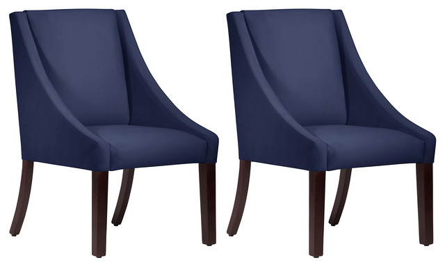 Navy Velvet Riley Swoop Arm Chairs Pair Contemporary  : contemporary dining chairs from www.houzz.com size 640 x 384 jpeg 33kB