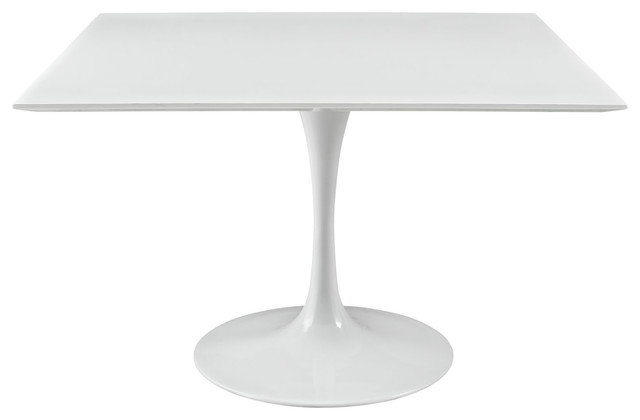 Lippa 47 square wood top dining table in white for Square industrial dining table