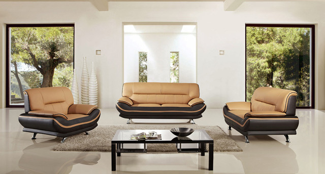 3 pcs leather match sofa set in yellow brown finish for Matching living room sets