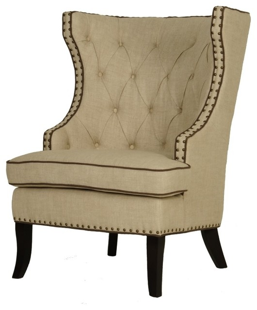 Club Side Chair Bisque French Nail Heads
