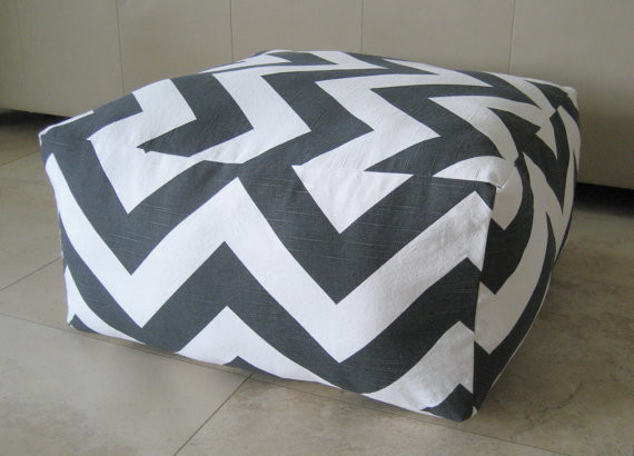 Large Modern Floor Pillows : Large Pouf Floor Pillow, Charcoal/White by Aletafae - Contemporary - Floor Pillows And Poufs ...