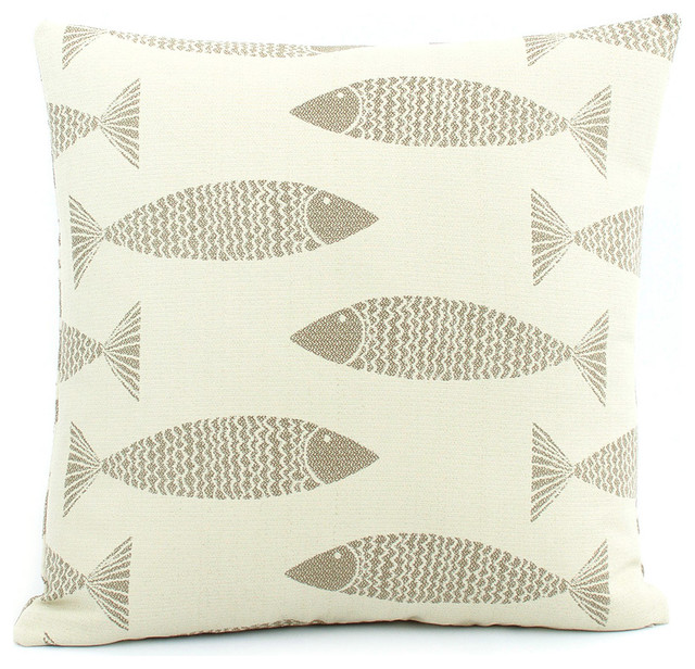 Beach Style Outdoor Cushions : Swim Team Fish Throw Pillow, Double Sided, Baja Sand, 20