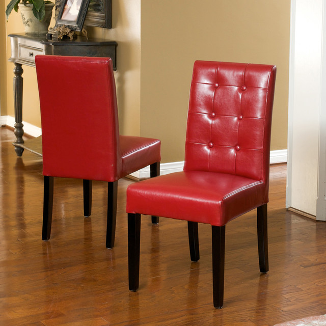 Christopher Knight Home Roland Red Leather Dining Chairs Set Of 2 Contemp