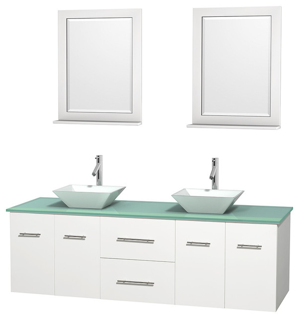 Centra 72 Espresso Double Bathroom Vanity Green Glass Top White Porcelain Sink Contemporary