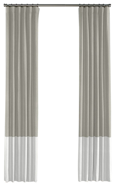 Light Gray And White Linen Color Block Curtain Single