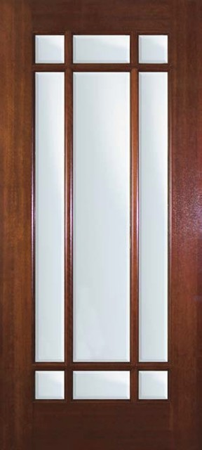 Slab french single door 80 wood mahogany 9 lite marginal for Single glass patio door